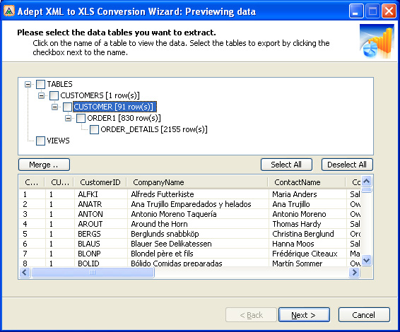 Adept XML to XLS Conversion Wizard