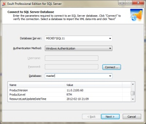 Connecting to an SQL Server database in Exult SQL Server.